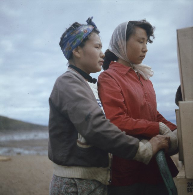 "Rosemary Gilliat Eaton, ""Women participating in the unloading of a Hudson Bay Company barge at Apex, Frobisher Bay, N.W.T."