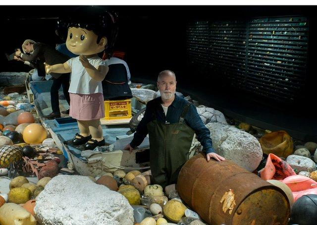 "Douglas Coupland works on ""Vortex"" at the Vancouver Aquarium. (Photo courtesy of Ocean Wise.)"