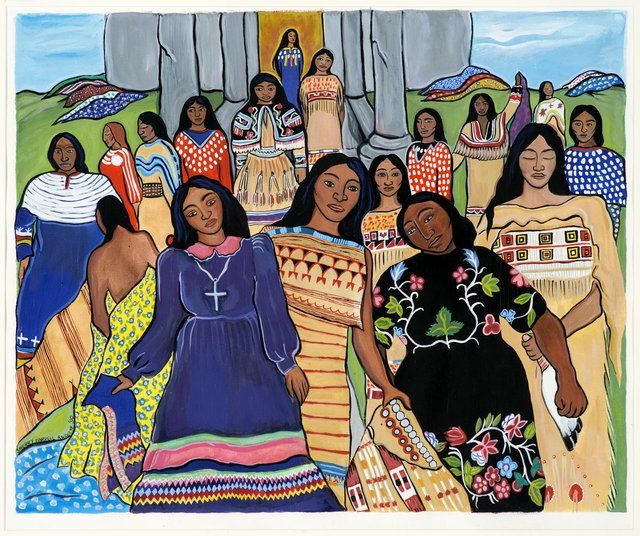 """Sherry Farrell Racette, """"Ancestral Women Taking Back Their Dresses,"""" 1990"""