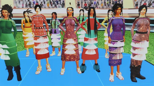 "Skawennati, ""Jingle Dancers Assembled,"" 2011"