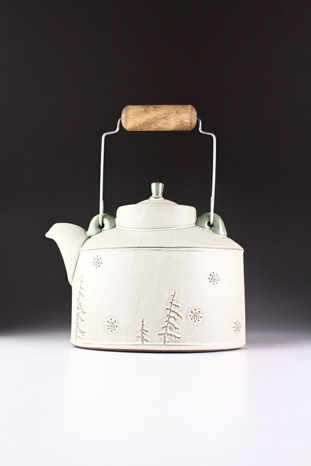 "Sarah Pike, ""Treeline & Snowflake Teapot,"" 2018"