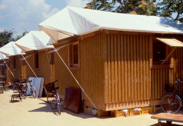 "Shigeru Ban, ""Paper Log House, Kobe, Japan,"" 1995 (photo by Takanobu Sakuma)"