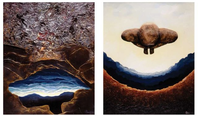 "Karel Doruyter, ""Choice,"" (left) and ""Resurrection"""