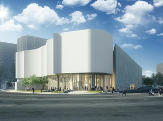 Glass will face the street on the first two levels, with white masonry above. (courtesy Winnipeg Art Gallery)