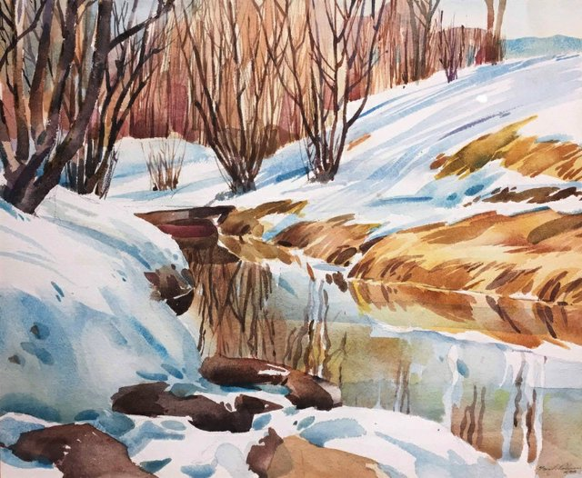 """Herbert Franklin (Frank) Palmer,  RCA,  ASA , CSPWC,  (1921-1990) """"Winter Landscape,"""" nd"""