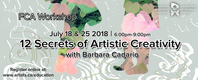 "Barbara Cadario, Federation Gallery, ""12 Secrets of Artistic Creativity,"" 2018"