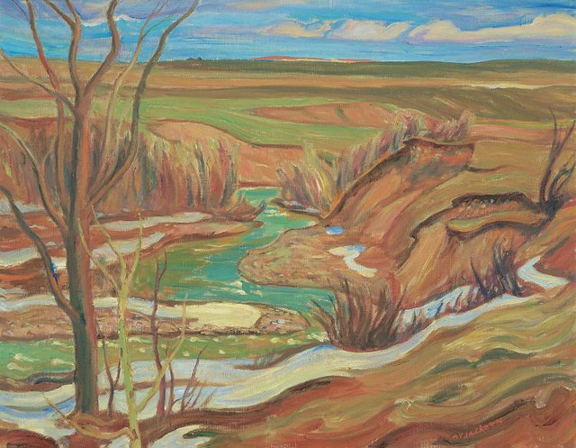 "Alexander Young Jackson, ""Drywood Creek, Waterton Lake / Pincher Creek,"" circa 1957"