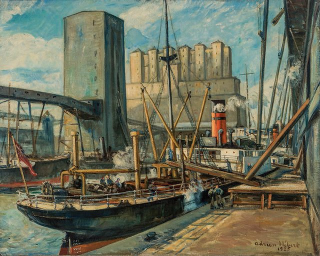 """Adrien Hébert, """"Montreal Harbour,"""" 1925"""