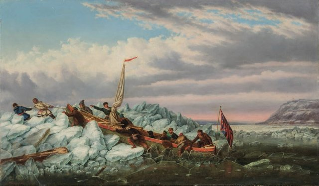 "Cornelius Krieghoff, ""Crossing the Ice with the Royal Mail, Québec,"" circa 1862"