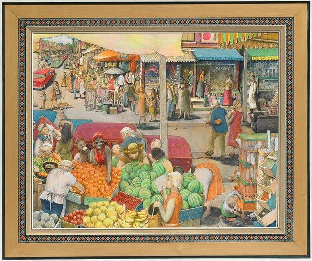 "William Kurelek, ""Hot Day in Kensington Market,"" 1972"