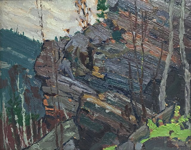 "Tom Thomson, ""Cliffs Near Petawawa,"" 1916, oil"