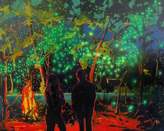 "Michael Cameron, ""Fireflies Along the Bow,"" nd"