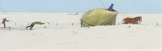 "William Kurelek, ""Skiing after the Hayrack in Manitoba,"" 1968"