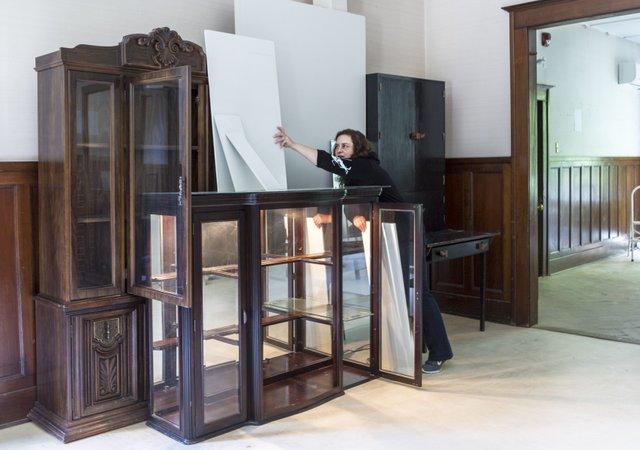 "Caroline Clerc, ""Installing work at the Caetani Centre,"" 2018"