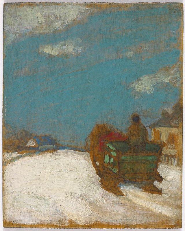 """James Wilson Morrice, """"Study for 'Effet de neige, traîneau',"""" circa 1905-1906"""