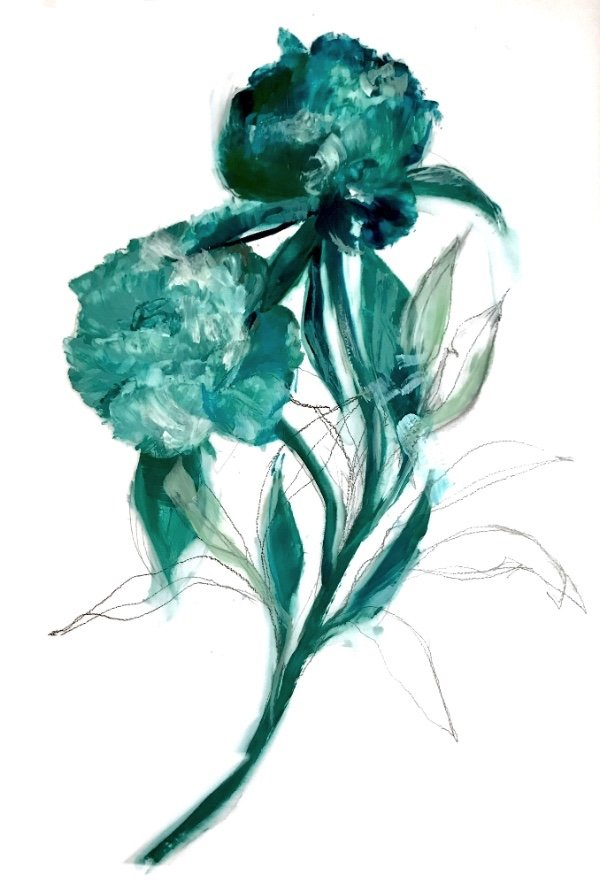 "Madeleine Lamont, ""Teal Bouquet with Pencil,"" 2018"