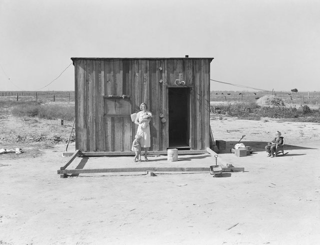 """Dorothea Lange, """"Home of rural rehabilitation client, Tulare County, California,"""" undated (Farm Security Administration–Office of War Information Photograph; Collection, Library of Congress, Prints and Photographs Division)"""