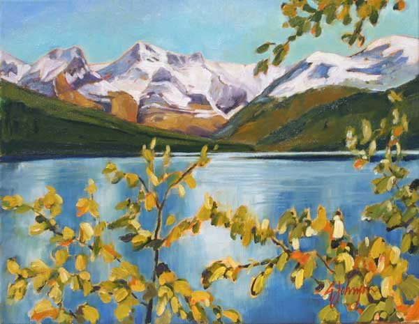 "Gail Johnson, ""Aspen Shores, Maligne Lake,"" nd"