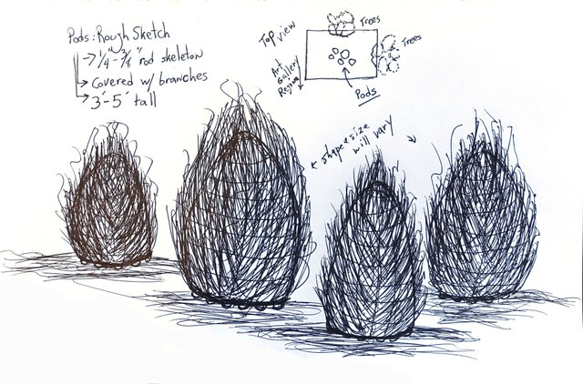 "Sean Whalley, ""Nature Pods concept sketch,"" 2018"