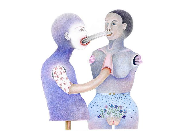 "Diana Thorneycroft, ""Tongue Exchange,"" 2018"