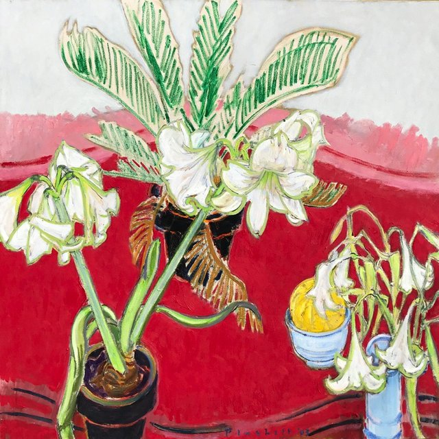 "Joseph Plaskett, ""White Amaryllis, White Lilies, Melon,"" nd"