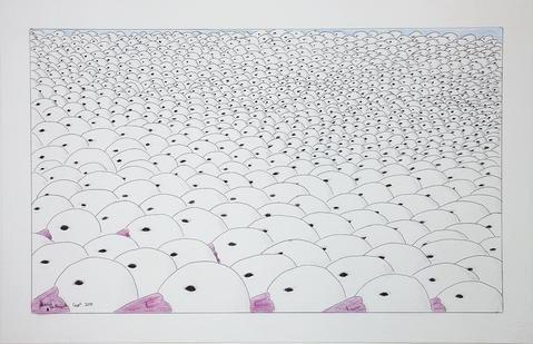 """Johnny Pootoogook, """"Untitled (Flock of Seagulls),"""" 2105-16"""