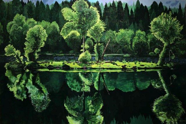 """Barbara Hirst, """"Glencoe Lochan - The Lady's Lake II, Scotland,"""" nd"""