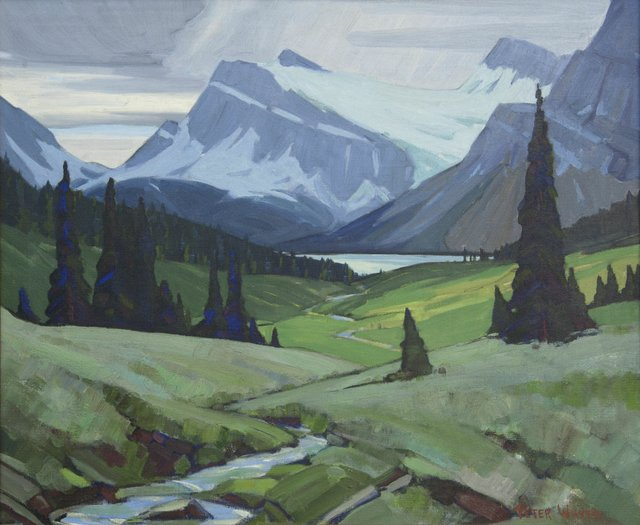 """Peter Whyte, """"Bow Lake, Crowfoot Glacier,"""" 1945-1950"""