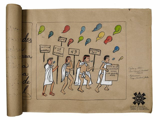 "Juan Manuel Sandoval Palacios and Diego Sandoval, ""Ayotzinapa Codex,"" undated (photo by Alina Ilyasova, courtesy of UBC Museum of Anthropology)"
