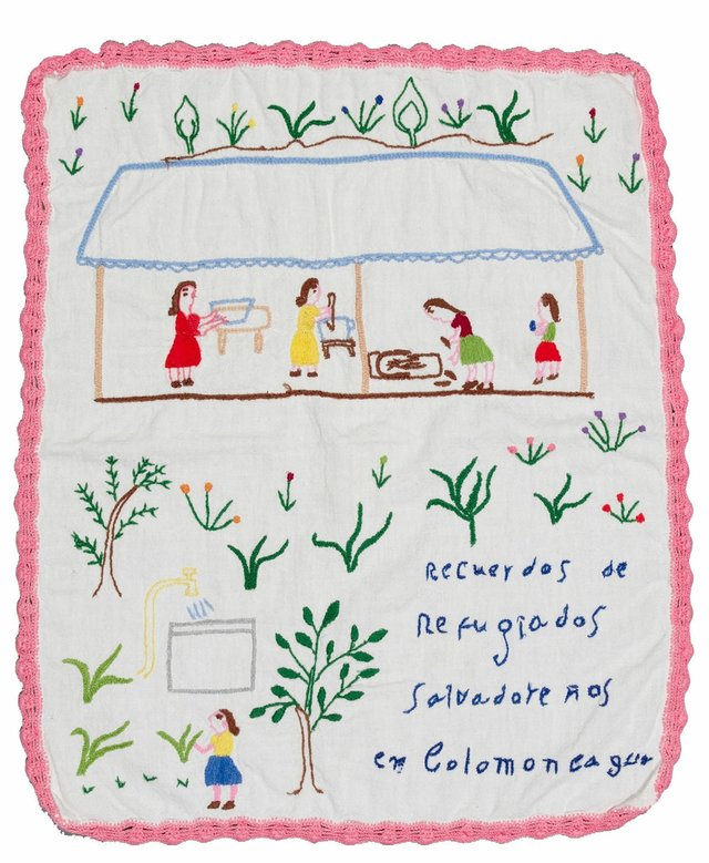 Artist unknown, untitled, 1981, embroidery depicts of refugees who fled violence in El Salvador as they await asylum in Honduran camp (photo by Kyla Bailey, courtesy of UBC Museum of Anthropology)