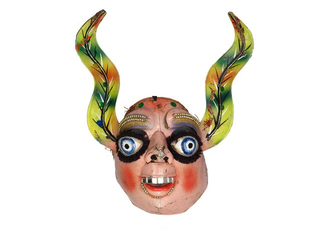 "Artist unknown, ""La Loca,"" no date, festival mask from Peru that represents the devil's wife (photo by Kyla Bailery, courtesy UBC Museum of Anthropology)"