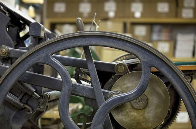 The letterpress inside Mother Tongue Publishing's operation on Salt Spring Island.