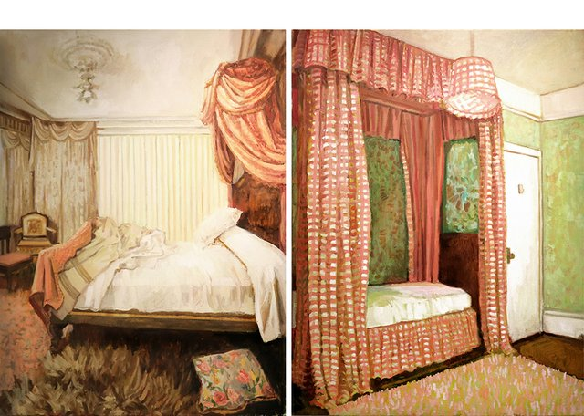 "Gillian Willans, ""Symphony in White,"" 2018 (left) and ""Sleeping Beauty,"" 2018 (right)"