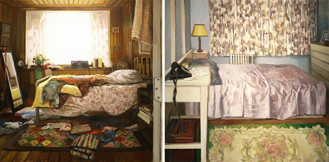 "Gillian Willans, ""Untitled (Un Made Bed),"" 2018 (left) and ""Untitled (Ready Made Bed),"" 2018 (right)"