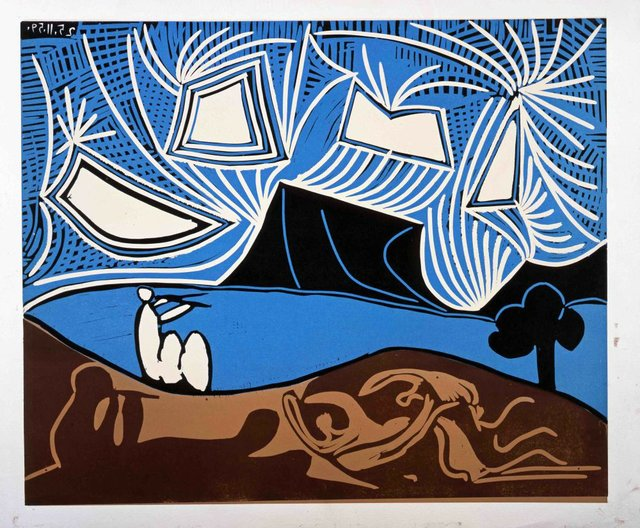 """Pablo Picasso, """"Couple et Flûtistes au Bord d'un Lac,"""" 1959"""