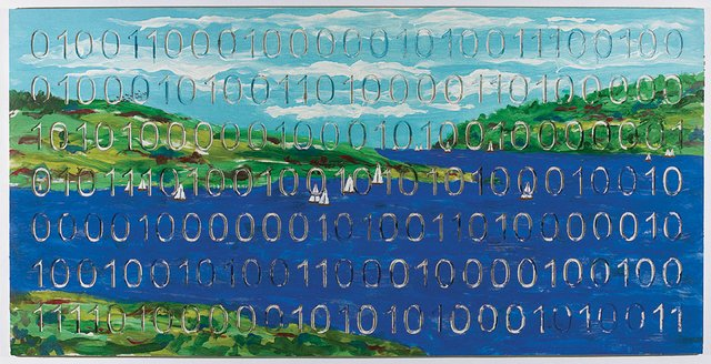 """""""Landscape With Sailboats (Digital Code Conversion Series) (detail)"""""""