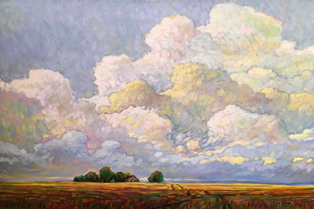 "Steve Coffey, ""Summer Clouds over Farm,"" nd"