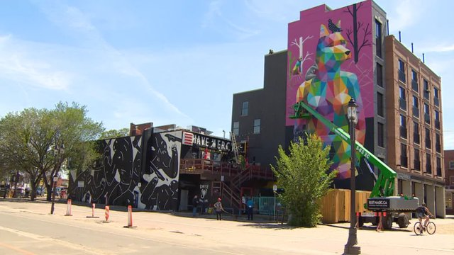 Mural designed by Spanish street artist Okuda San Miguel on the north wall of the Crawford Block in Old Strathcona (courtesy CBC News)