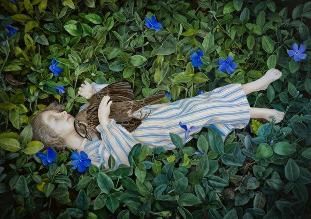 "Marsha Kennedy, ""Pathos In The Periwinkle, oil, archivak ink, silver leaf on birch panel, 10 1/4 x 13 1/2"", 2018"