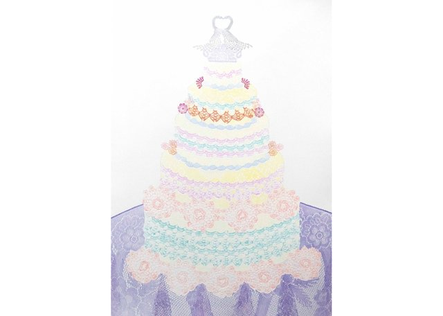 "Wendy Tokaryk, ""Cake Too,"" no date, relief print with embossing, 44"" x 30"""