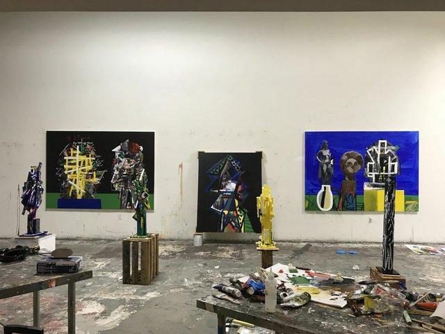 Erik Olson's studio in Los Angeles during his La Brea residency in 2018. (courtesy of the artist)