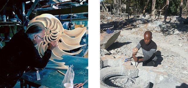 Indigenous artists IceBear (Canada) and Dominic Benhura (Zimbabwe) in the creative process