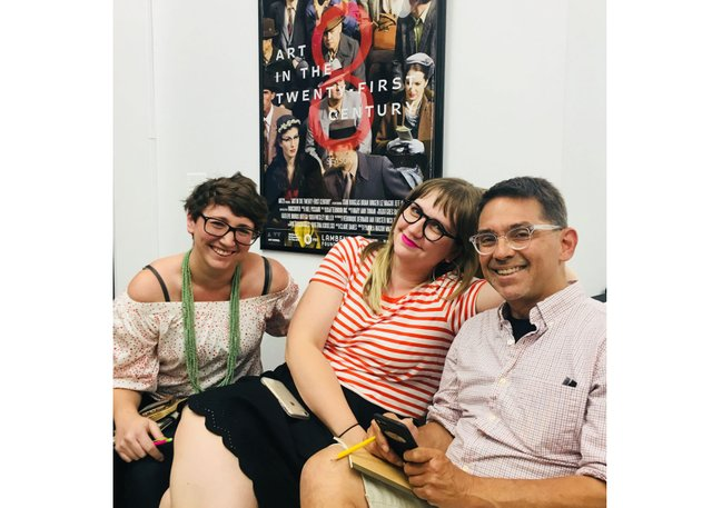 Stacey Abramson (centre) chills out with Erica Richard (left) and Todd Elkin (right) in the Art21 offices. (photo by Shannah Burton)