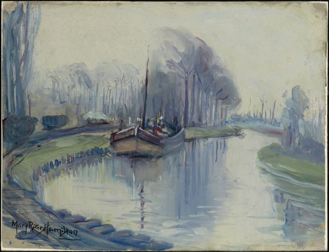 """Mary Riter Hamilton, """"First Boat to Arrive at Arras After the Armistice,"""" 1920"""
