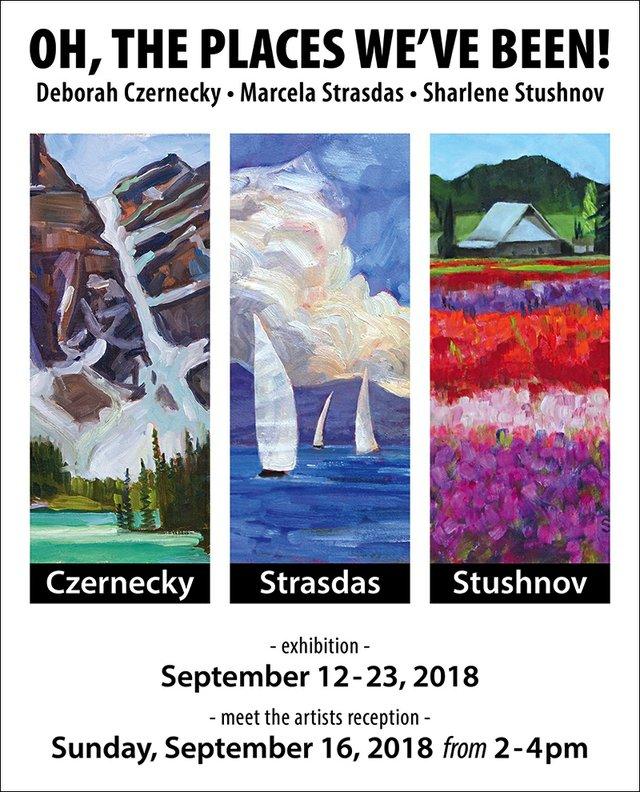 """Deborah Czernecky, Sharlene Stushnov-Lee, and Marcela Strasdas, """"Oh the Places We've Been,"""" 2018"""