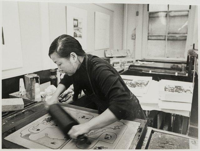 Anna Wong at work in her Pratt studio in New York in 1971.