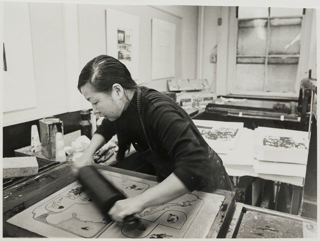 Anna Wong at work in her Pratt studio in New York in 1971.