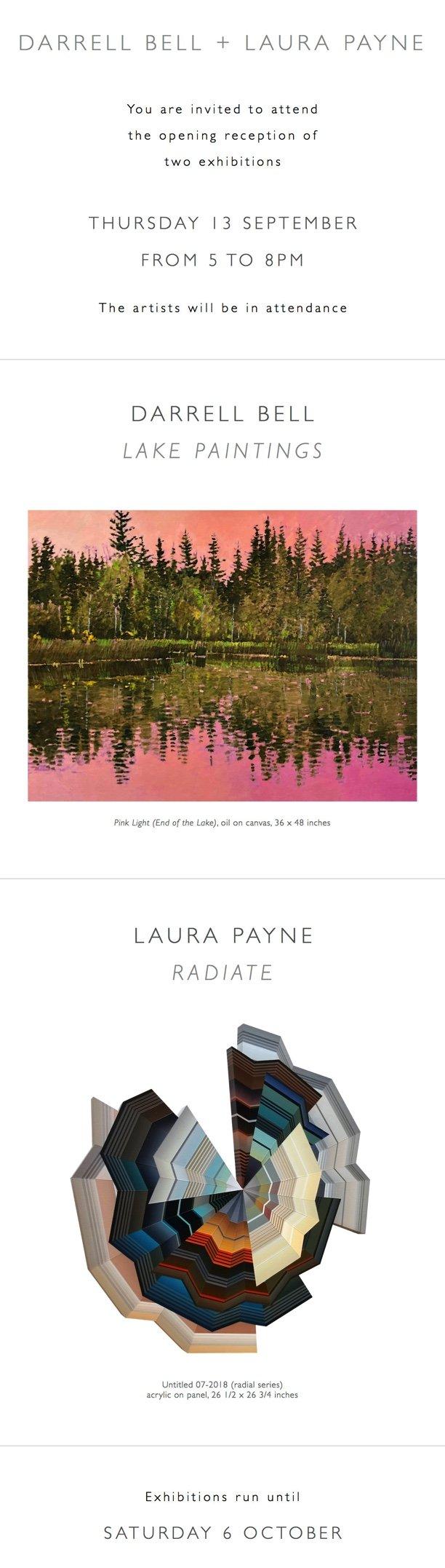 "Darrell Bell, ""Lake Paintings,"" & Laura Payne, ""Radiate,"" 2018"
