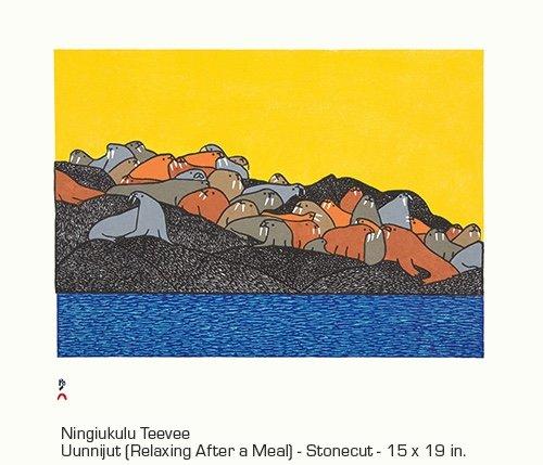 """Ningiiukulu Teevee, """"Uunnijut (Relaxing After a Meal),"""" 2018"""