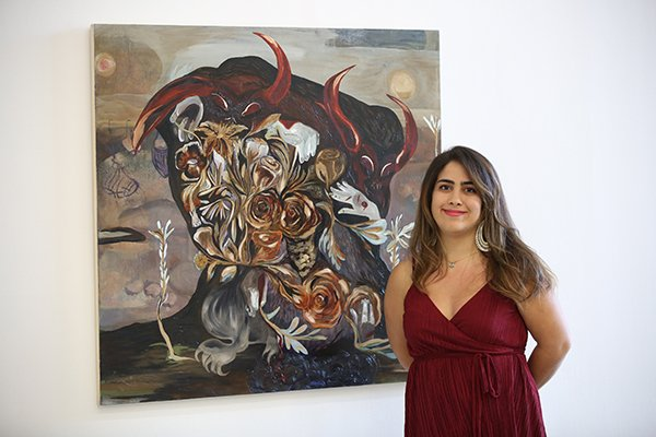 "Amanda Boulos with her winning painting ""In the Morning,"" 2017"
